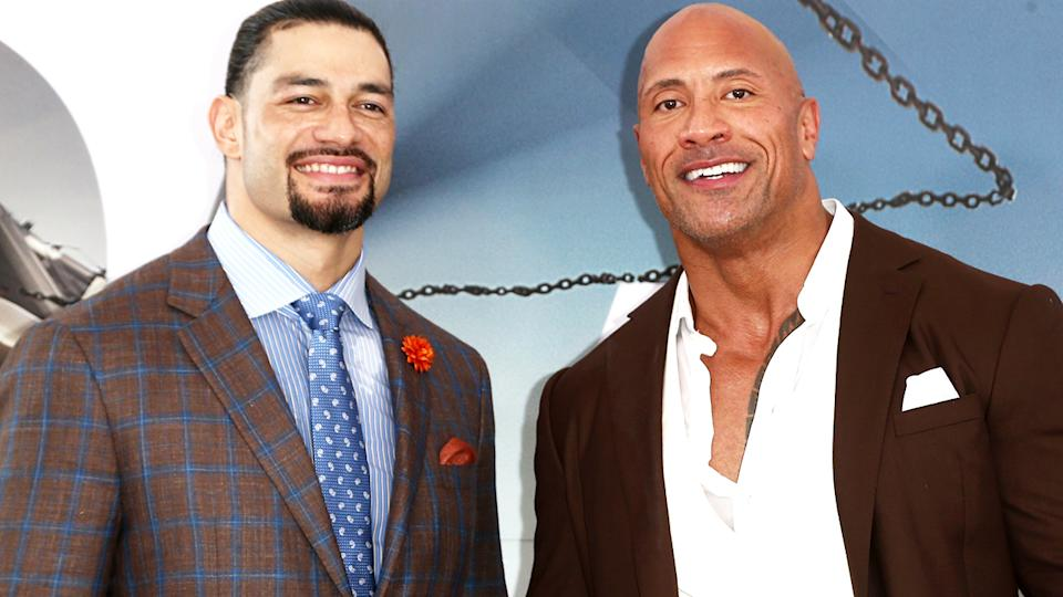 "Roman Reigns and Dwayne Johnson, pictured here at the premiere of ""Fast & Furious Presents: Hobbs & Shaw"" in 2019."