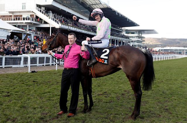 Horse Racing - Cheltenham Festival - Cheltenham Racecourse, Cheltenham, Britain - March 13, 2018 Ruby Walsh celebrates on Benie Des Dieux after winning the 16:10 OLBG Mares' Hurdle Action Images via Reuters/Matthew Childs