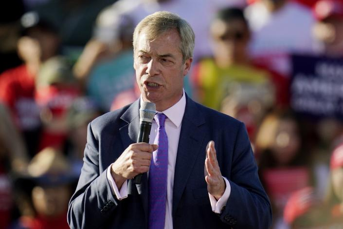 Nigel Farage, a former member of the European Parliament representing the UK and member of the Brexit Party, speaks at a campaign rally for President Donald Trump at Phoenix Goodyear Airport Wednesday, Oct. 28, 2020, in Goodyear, Ariz. (AP Photo/Ross D. Franklin)