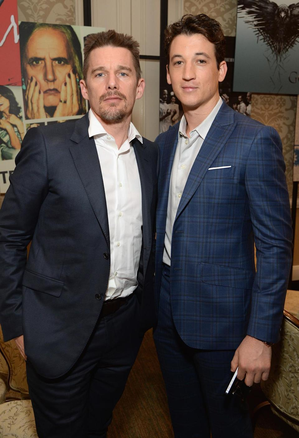 Ethan Hawke and Miles Teller look dapper in shades of blue suits.