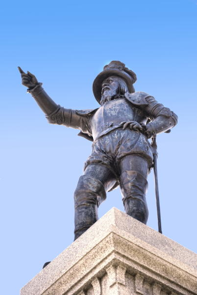 """This undated image provided by the St. Augustine, Ponte Vedra & The Beaches Visitors and Convention Bureau shows a statue of Spanish explorer Ponce de Leon located at the foot of the Bridge of Lions in St. Augustine's Plaza de La Constitucion. On April 2, 2013, St. Augustine will unveil another statue of de Leon located at the exact latitude logged by his ship the day before he claimed """"La Florida"""" as a Spanish territory in April 1513. This year Florida is marking 500 years since de Leon's arrival with a series of events related to the state's Spanish heritage and other aspects of its history. (AP Photo/FloridasHistoricCoast.com/ Stacey Sather)"""