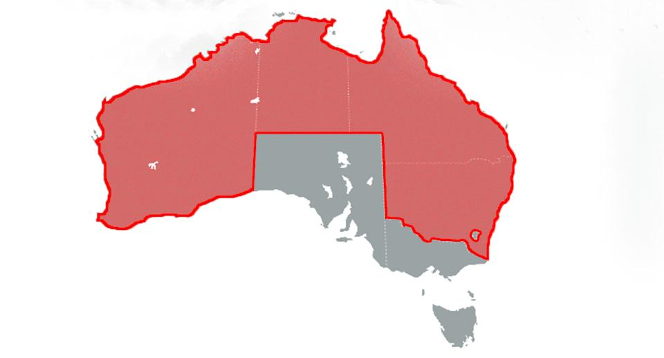 A map highlighting the states and territories that have detected local Covid cases.