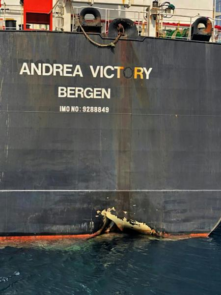 The managers of the Norwegian tanker Andrea Victory said it had a hole in the hull after being struck by an unknown object
