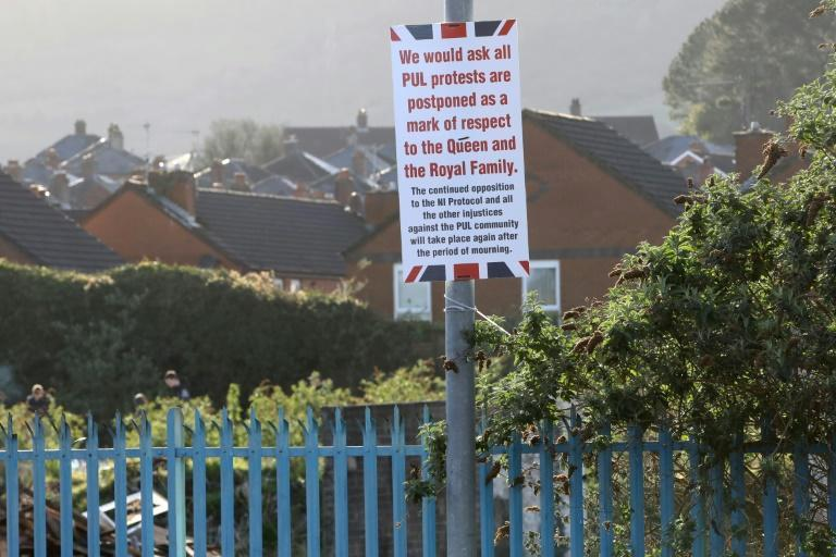 Posters appeared in Loyalist areas of West Belfast, Northern Ireland calling off planned protests following the death of Britain's Prince Philip