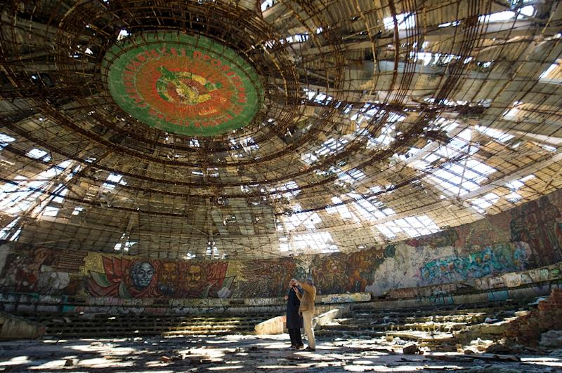 Inaugurated in 1981, the Buzludzha monument fell into disrepair following the collapse of the Iron Curtain in 1989 and now lies empty and crumbling (AFP Photo/Nikolay DOYCHINOV)