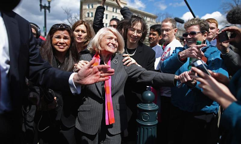Edith Windsor mobbed by journalists and supporters as she leaves the Supreme Court on 27 March, 2013.