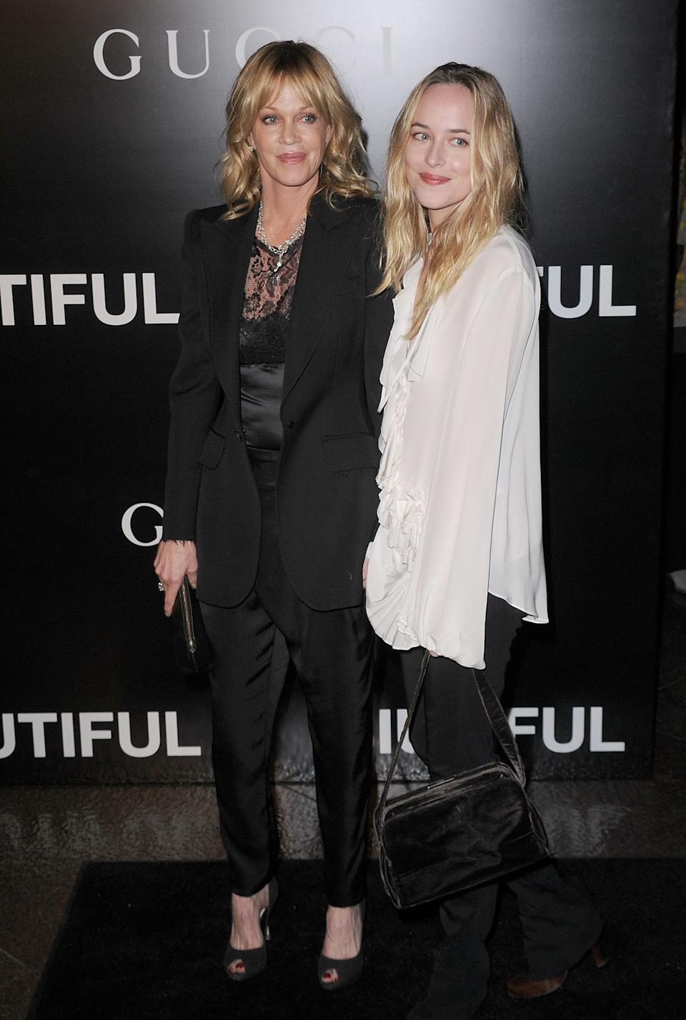Melanie Griffith and Johnson at Los Angeles premiere of 'Biutiful' December 2010