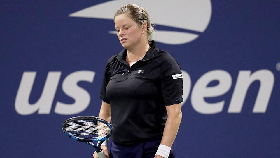 Pictured here, a dejected Kim Clijsters at the 2020 US Open.