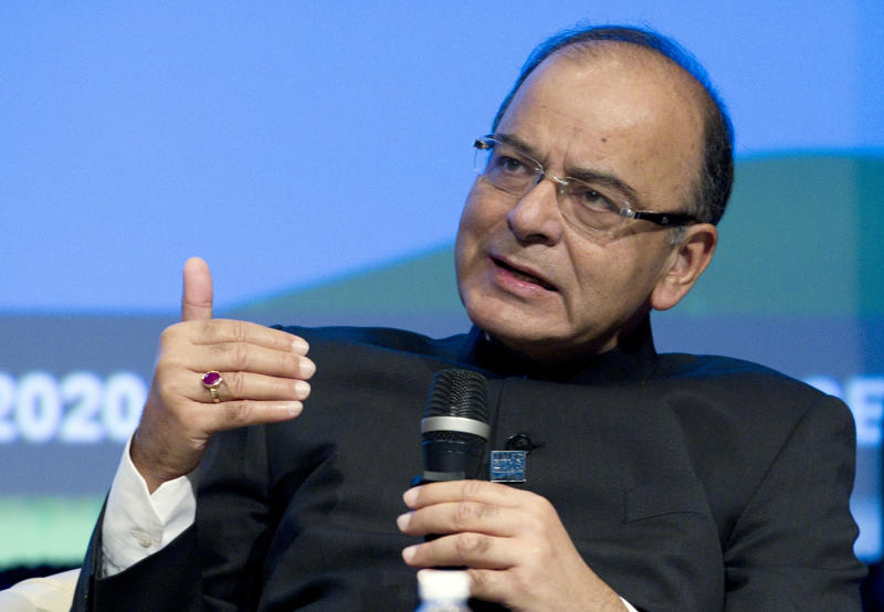 FILE- In this Oct. 7, 2016 file photo, India's then Finance Minister Arun Jaitley speaks during a panel discussion at the World Bank/IMF Annual Meetings at IMF headquarters in Washington. Jaitley, India's former finance minister and a key member of Prime Minister Narendra Modi's first term in office, has died in a New Delhi hospital. He was 66. (AP Photo/Jose Luis Magana, File)