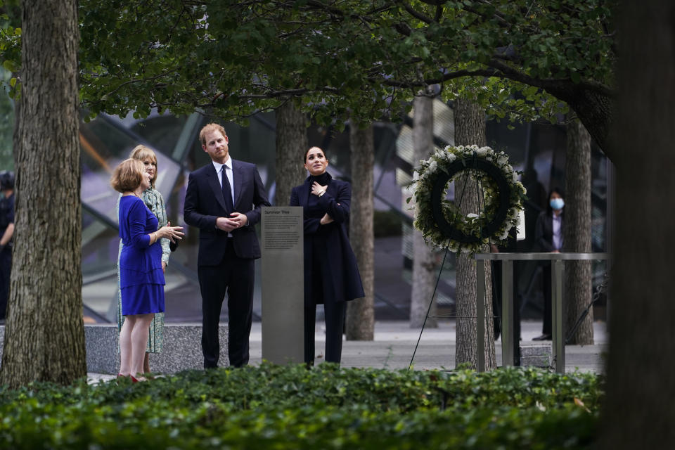 Prince Harry The Duke of Sussex and Meghan Markle The Duchess of Sussex visit the National September 11 Memorial & Museum in New York, Thursday, Sept. 23, 2021. (AP Photo/Seth Wenig)
