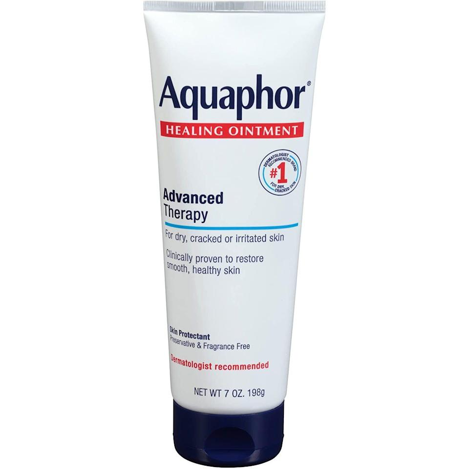 """<p><strong>Aquaphor</strong></p><p>amazon.com</p><p><strong>$9.58</strong></p><p><a href=""""https://www.amazon.com/dp/B0107QPFBU?tag=syn-yahoo-20&ascsubtag=%5Bartid%7C10054.g.36719600%5Bsrc%7Cyahoo-us"""" rel=""""nofollow noopener"""" target=""""_blank"""" data-ylk=""""slk:Shop Now"""" class=""""link rapid-noclick-resp"""">Shop Now</a></p><p>Like the aforementioned A&D, this healing ointment is a go-to tattooer recommendation for aftercare. The rich healing salve helps heal extremely dry skin and tattoos the same way: by providing a protective barrier that allows the skin to do it's thing (heal itself). A word of caution though. """"People tend to overapply Aquaphor,"""" says Ghinko. """"Apply just a thin layer every time so your skin can still breathe."""" Using too much can actually do more harm than good.</p>"""
