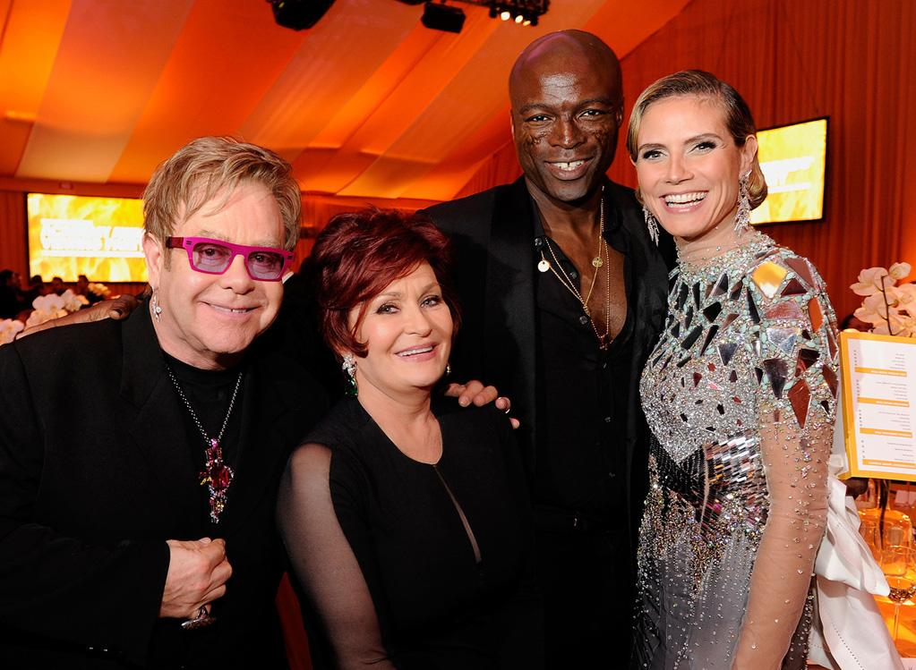 """Elton's A-list guest list included Sharon Osbourne, Seal, and """"Project Runway"""" hostess with the mostest Heidi Klum."""