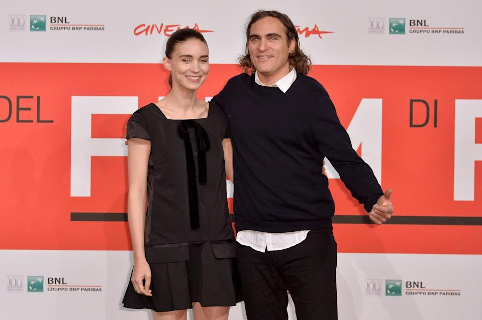 "<p>In July 2019, <strong>Us Weekly</strong> confirmed that <a href=""http://www.usmagazine.com/celebrity-news/news/rooney-mara-joaquin-phoenix-are-engaged-after-3-years-of-dating/"" class=""link rapid-noclick-resp"" rel=""nofollow noopener"" target=""_blank"" data-ylk=""slk:the couple of three years is engaged"">the couple of three years is engaged</a>. Rooney and Joaquin first met in 2016 on the set of the film <strong>Mary Magdalene</strong> and made their debut as a couple at <a href=""https://www.popsugar.com/celebrity/Joaquin-Phoenix-Rooney-Mara-Cannes-Photos-2017-43587112"" class=""link rapid-noclick-resp"" rel=""nofollow noopener"" target=""_blank"" data-ylk=""slk:the Cannes Film Festival"">the Cannes Film Festival</a> in May 2017. </p>"