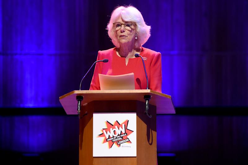LONDON, ENGLAND - MARCH 06: Camilla, Duchess of Cornwall speaks at the Grand Opening Session of the WOW Festival 2020 at Southbank Centre on March 06, 2020 in London, England. (Photo by Kate Green/Getty Images)