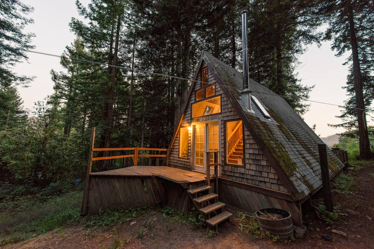 "<h2>Cazadero, California</h2>                                                                                                                                                                 <p><p><a rel=""nofollow"" href=""https://www.airbnb.com/rooms/2437969?s=oVS_wkpp"">This A-frame cabin</a> in western Sonoma County is modest in size, but it just might be the rustic and romantic getaway you've been dreaming about this winter. The rental includes a stylishly renovated interior complete with a freestanding fireplace and fully stocked bookshelves.</p>                                                                                                                                                                   <h4>Airbnb</h4>"