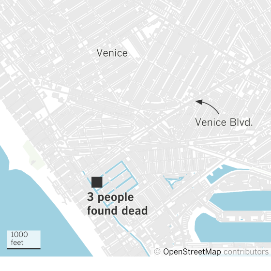 Map showing location in Venice where 3 people died after overdosing