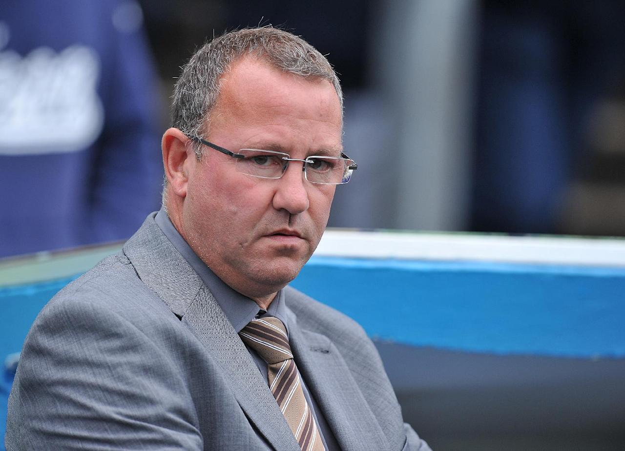 A worried looking Carlisle United's Manager Greg Abbott during the Sky Bet Football League One match at Brunton Park, Carlisle.