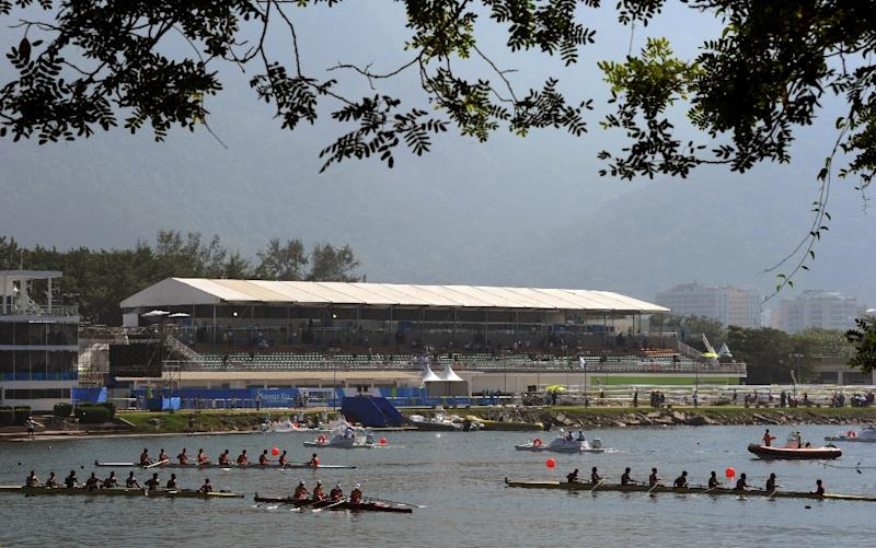 Competitors participate in the 2015 World Rowing Junior Championships in the Rodrigo de Freitas Lagoon in Rio de Janeiro on August 5, 2015, one year before the start of the Rio 2016 Olympic Games