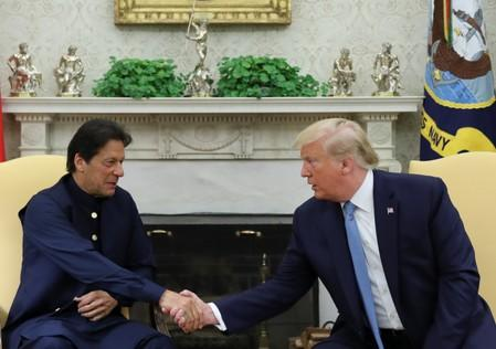 U.S. President Trump meets with Pakistan's Prime Minister Khan at the White House in Washington