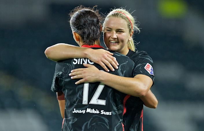 Lindsey Horan (back), Christine Sinclair and the Portland Thorns are bursting at the seams with talent. Will they capture their first NWSL title since 2017? (Photo by Craig Mitchelldyer/ISI Photos/Getty Images)