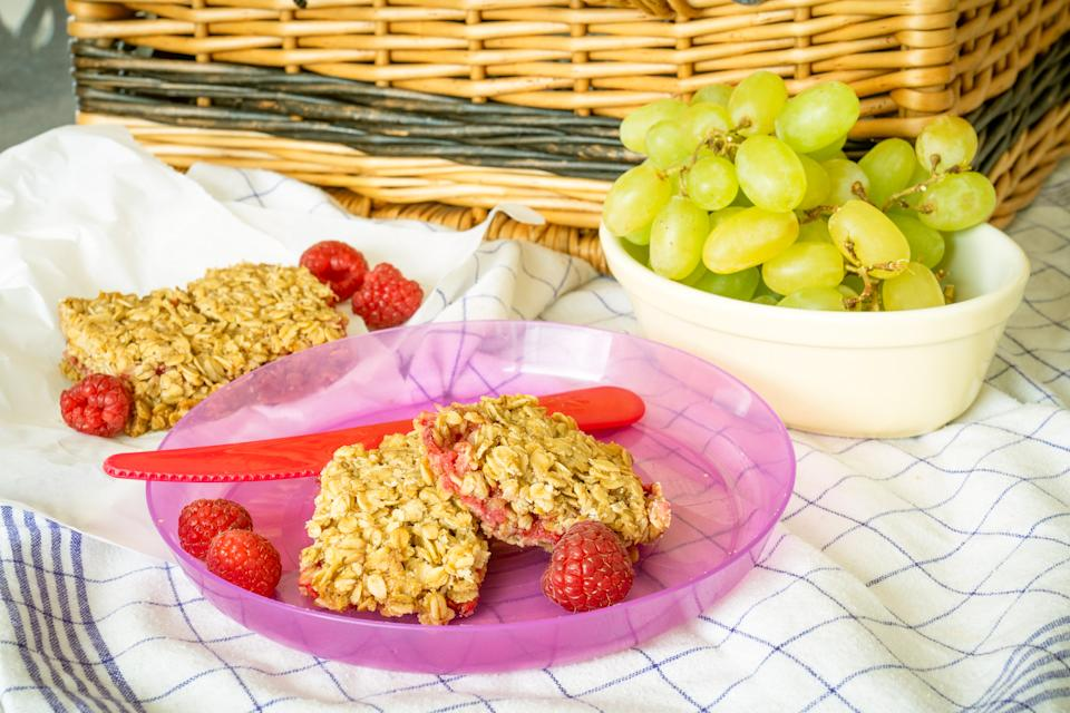 Raspberry crumble flapjacks (Andrew Bowden-Smith)