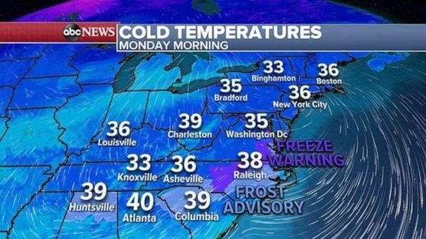 PHOTO: This morning, the coldest air of the season stretches from Birmingham, Alabama to Boston, Massachusetts, where the actual temperatures are in the 30's. (ABC News)