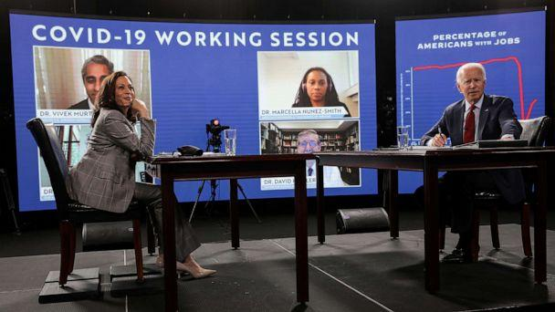 PHOTO: Democratic presidential candidate Joe Biden and vice presidential candidate Kamala Harris are seated prior to participating in a briefing on the COVID-19 pandemic from public health officials, in Wilmington, Del., Aug. 13, 2020. (Carlos Barria/Reuters)