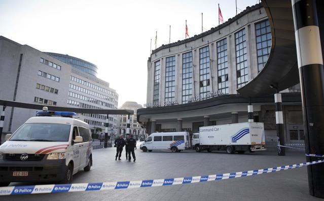 "<p>Police patrol outside Central Station in Brussels on Wednesday, June 21, 2017. Belgian authorities said they foiled a ""terror attack"" when soldiers shot a suspect in the heart of Brussels after a small explosion at a busy train station Tuesday on a night that continued a week of extremist attacks in the capitals of Europe. (Virginia Mayo/AP) </p>"