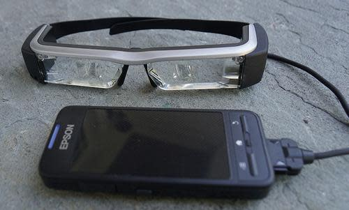 Epson Moverio BT200 glasses with touchpad