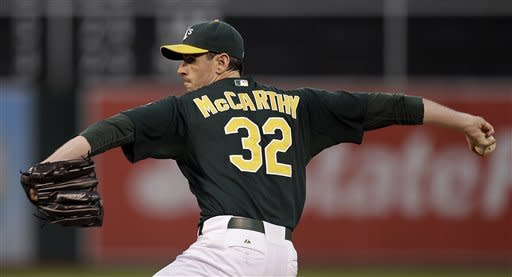 Oakland Athletics' Brandon McCarthy works against the Boston Red Sox in the first inning of a baseball game Friday, Aug. 31, 2012, in Oakland, Calif. (AP Photo/Ben Margot)