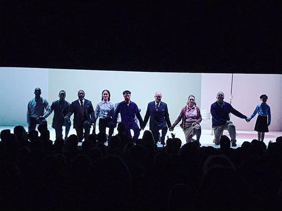 """<p>The actress and her co-stars in Broadway's <em>1984</em> took a knee together at curtain call on Sunday. """"Proud to be a part of this cast,"""" the actress captioned this photo of the moment of unity. """"Thank you to our electric audience for your energy and support."""" (Photo: <a href=""""https://www.instagram.com/p/BZcGE9HHLIH/?taken-by=oliviawilde"""" rel=""""nofollow noopener"""" target=""""_blank"""" data-ylk=""""slk:Olivia Wilde via Instagram"""" class=""""link rapid-noclick-resp"""">Olivia Wilde via Instagram</a>) </p>"""