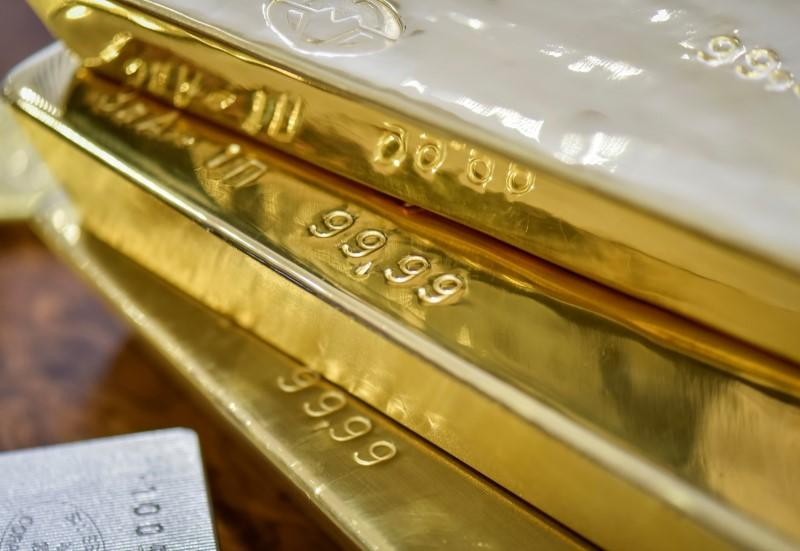 Gold bars are seen at the Kazakhstan's National Bank vault in Almaty
