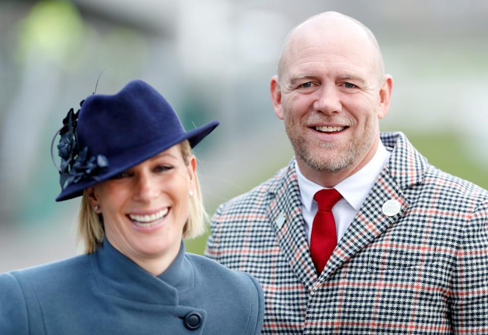 CHELTENHAM, UNITED KINGDOM - MARCH 12: (EMBARGOED FOR PUBLICATION IN UK NEWSPAPERS UNTIL 24 HOURS AFTER CREATE DATE AND TIME) Zara Tindall and Mike Tindall attend day 3 'St Patrick's Thursday' of the Cheltenham Festival 2020 at Cheltenham Racecourse on March 12, 2020 in Cheltenham, England. (Photo by Max Mumby/Indigo/Getty Images)