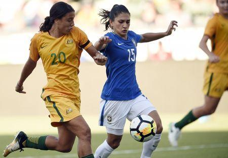 Aug 3, 2017; Carson, CA, USA; Australia forward Sam Kerr (20) and Brazil defender Leticia (15) battle for the ball during the second half at StubHub Center. Australia won 6-1. Mandatory Credit: Kelvin Kuo-USA TODAY Sports