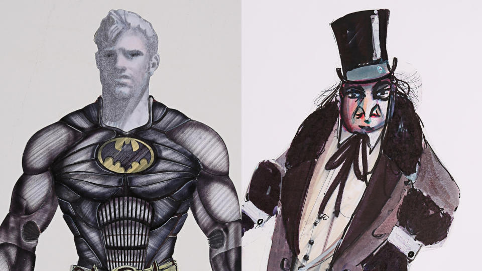 Costume design art for Batman and The Penguin in 'Batman' and 'Batman Returns'. (Credit: Bob Ringwood/Prop Store)