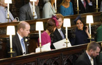 <p>When the camera got a shot of the Fab Four inside the chapel. </p>