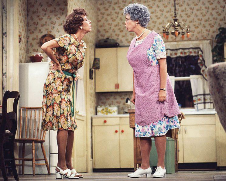 Carol Burnett as Eunice Higgins, left, and Vicki Lawrence as Mama Harper in Mama's Family. (Photo: CBS Photo Archive)