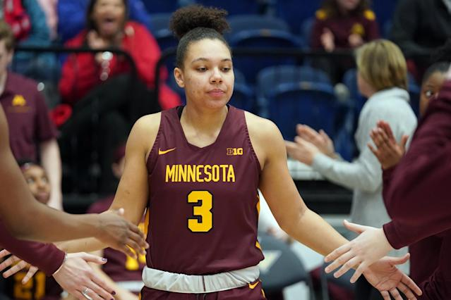 "Gophers star Destiny Pitts said she was suspended for poor ""body language"" last week, and now plans to transfer. (Mitchell Layton/Getty Images)"