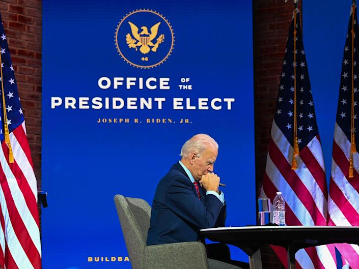 <p>US President-elect Joe Biden participates in a virtual meeting with the United States Conference of Mayors at the Queen in Wilmington, Delaware, on 23 November 2020</p> ((AFP via Getty Images))