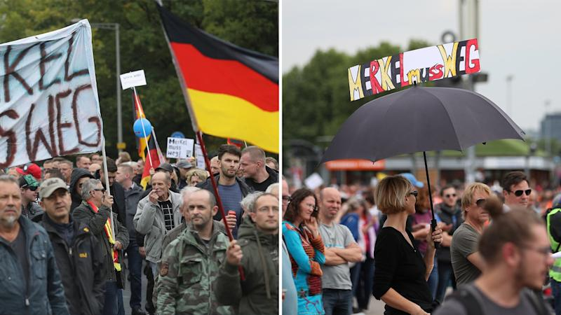 3. Oktober 2016 in Dresden (links) und 9. Mai 2020 in Stuttgart (rechts) © Sean Gallup, Christian Kaspar-Bartke/​Getty Images
