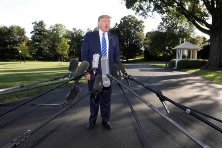 President Donald Trump departs the White House en route to Camp David