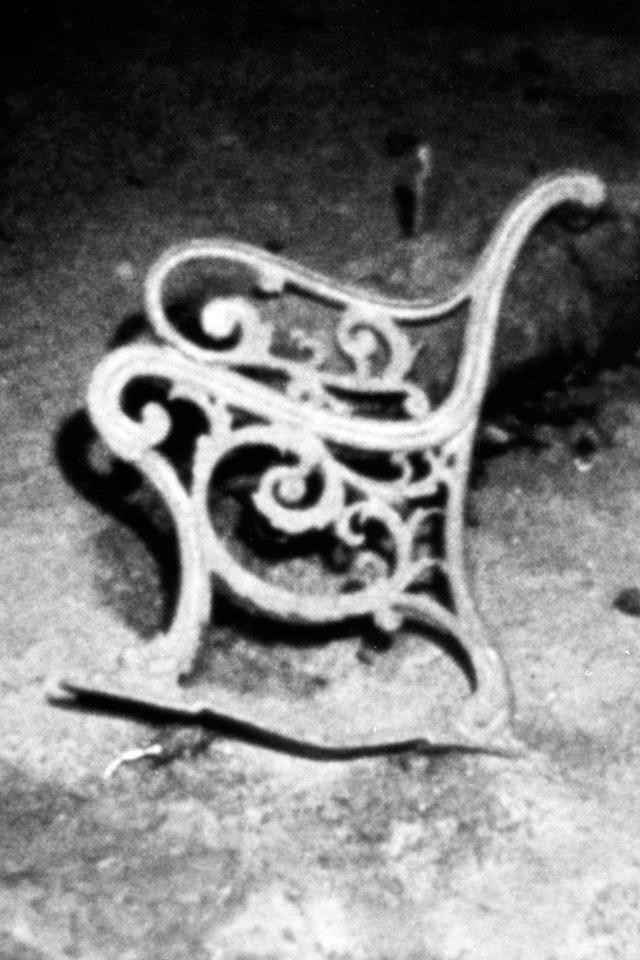 A cast-iron deck bench on the wreck (Woods Hole Oceanographic Institute 1986/PA)