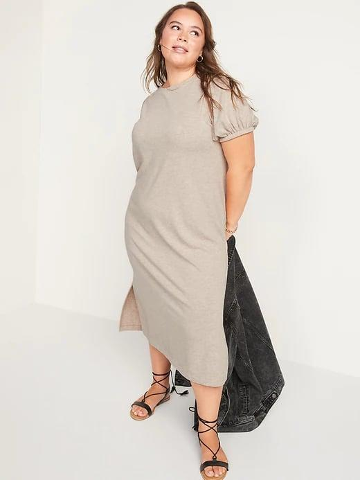 <p>This <span>Old Navy Puff-Sleeve Midi T-Shirt Shift Dress</span> ($40) will be your answer to getting dressed on days when you feel lazy. It looks put-together for the office or to lounge at home.</p>