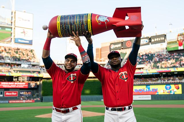 """The """"Bomba Squad"""" helped Minnesota set the MLB home run record in early September. (Photo by Brace Hemmelgarn/Minnesota Twins/Getty Images)"""