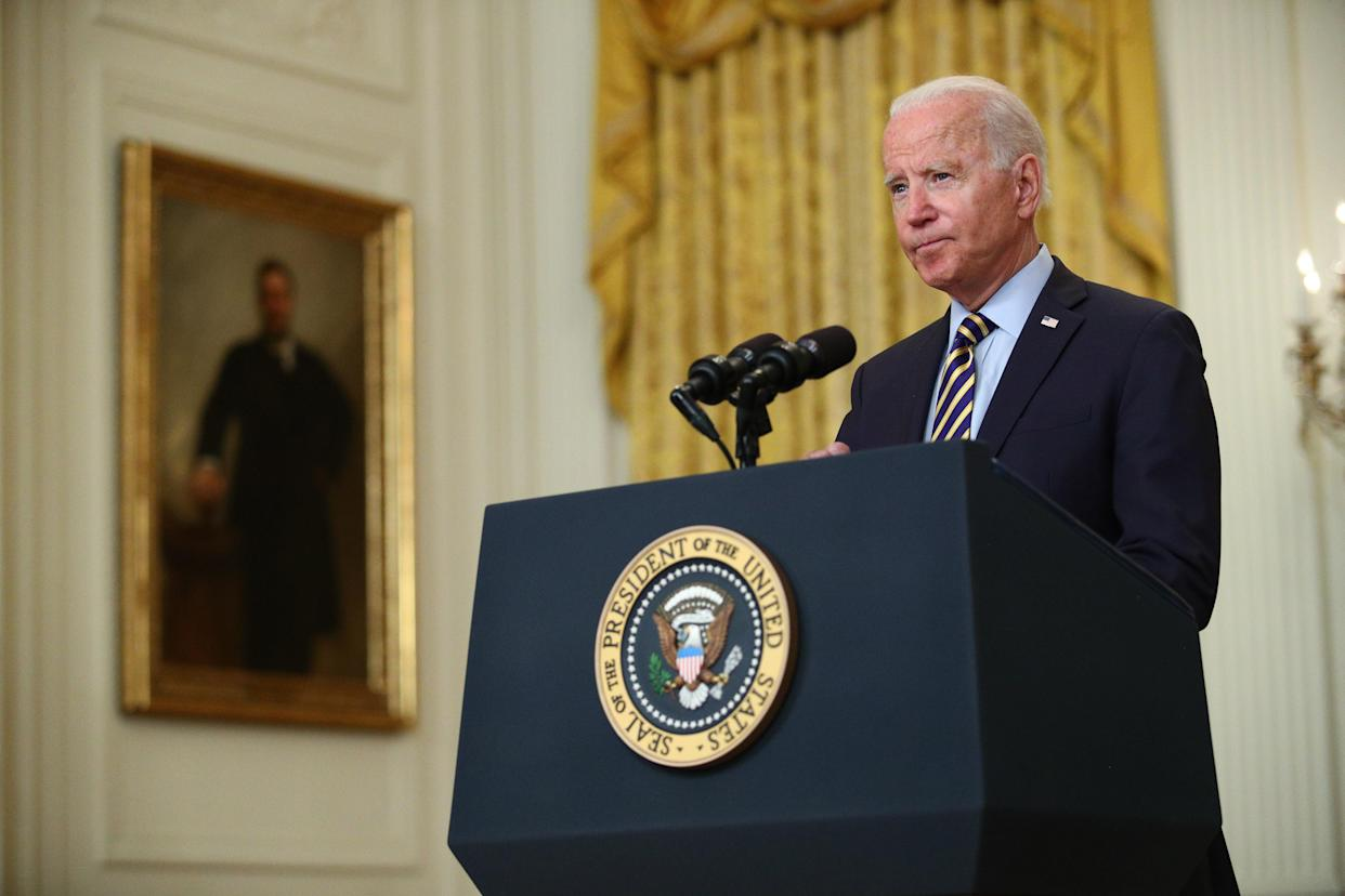 U.S. President Joe Biden speaks in the East Room of the White House on Thursday, July 8, 2021. Biden met with security advisers before delivering remarks about the U.S. troop drawdown from Afghanistan, where the Taliban is rapidly advancing on the heels of the U.S. departure. Photographer: Tom Brenner/Pool/Sipa USA