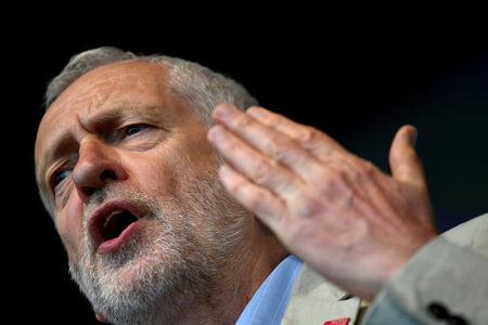 FILE PHOTO: Britain's Labour Party leader Jeremy Corbyn addresses a rally, part of the TUC's 'A New Deal for Working People' campaign, in central London, Britain, May 12, 2018. REUTERS/Toby Melville/File Photo