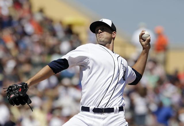 Detroit Tigers starting pitcher Drew Smyly throws during the first inning of a spring exhibition baseball game against the Toronto Blue Jays in Lakeland, Fla., Tuesday, March 18, 2014. (AP Photo/Carlos Osorio)