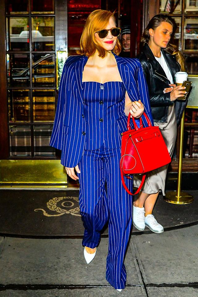 <p><strong>17 April </strong>Jessica Chastain made a statement in a pinstripe Ralph Lauren look in New York. <strong></strong></p>