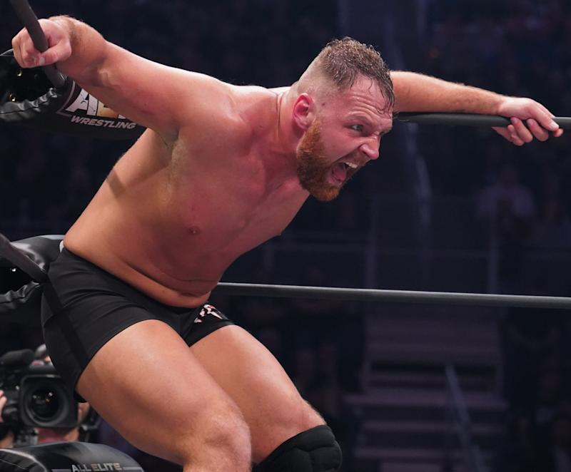 "Jon Moxley is seen during an episode of AEW ""Dynamite"" on TNT. (Photo courtesy of AEW)"