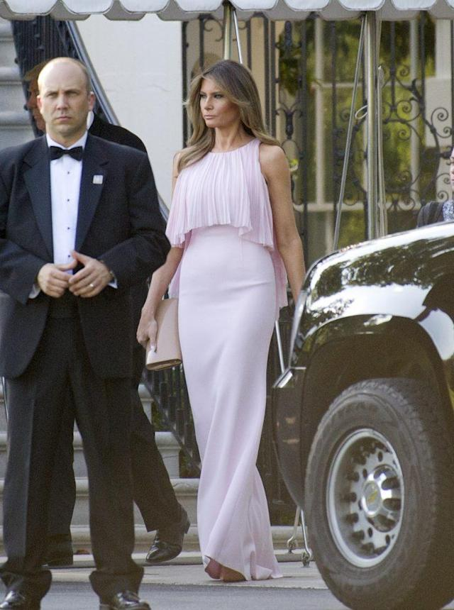 Melania Trump attended Steven Mnuchin's wedding in a blush evening gown by J.Mendel. (Getty photos)